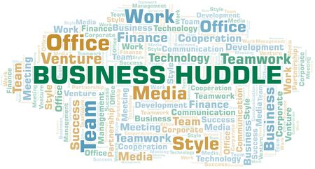 Business Huddle word cloud. Collage made with text only. Vetores