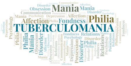 Tuberculomania word cloud. Type of mania, made with text only.