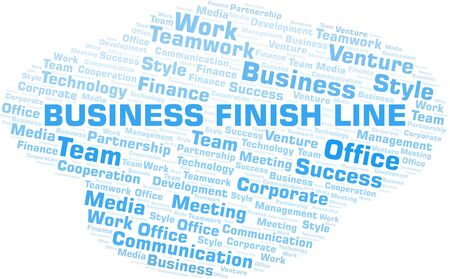 Business Finish Line word cloud. Collage made with text only.