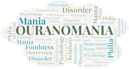 Ouranomania word cloud. Type of mania, made with text only.