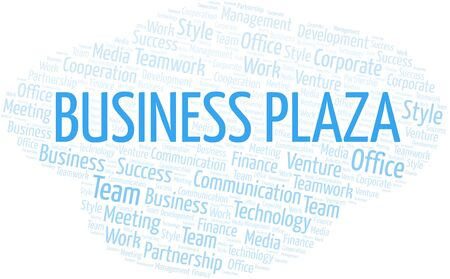 Business Plaza word cloud. Collage made with text only.