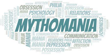 Mythomania word cloud. Type of mania, made with text only. Illusztráció