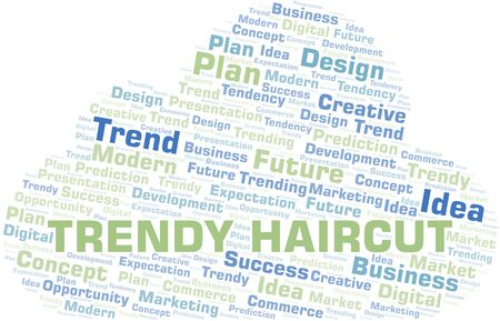 Trendy Haircut word cloud. Wordcloud made with text only.