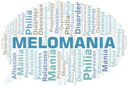 Melomania word cloud. Type of mania, made with text only.