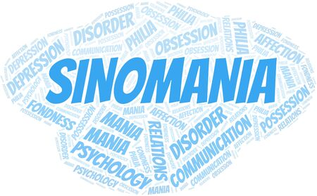 Sinomania word cloud. Type of mania, made with text only. Vettoriali