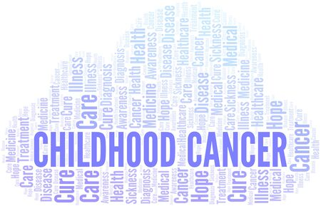 Childhood Cancer word cloud. Vector made with text only.