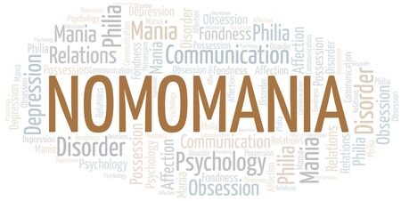 Nomomania word cloud. Type of mania, made with text only.