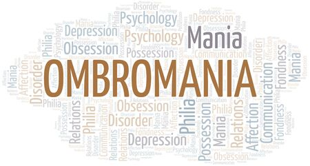 Ombromania word cloud. Type of mania, made with text only. Illusztráció