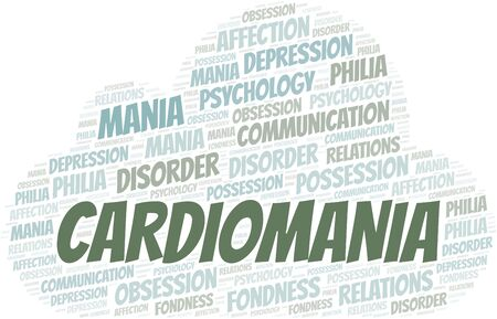 Cardiomania word cloud. Type of mania, made with text only.
