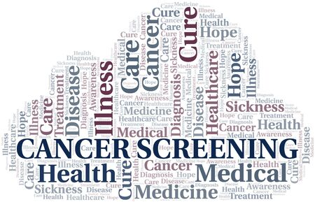 Cancer Screening word cloud. Vector made with text only. Illustration