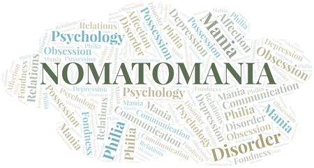 Nomatomania word cloud. Type of mania, made with text only. Vettoriali