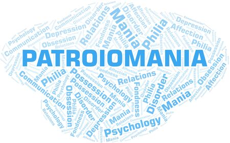 Patroiomania word cloud. Type of mania, made with text only. Vettoriali