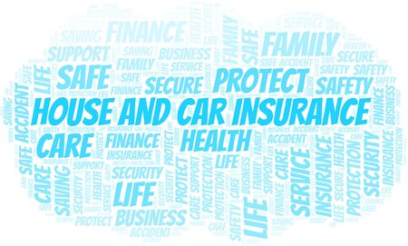 House And Car Insurance word cloud vector made with text only