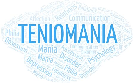 Teniomania word cloud. Type of mania, made with text only.