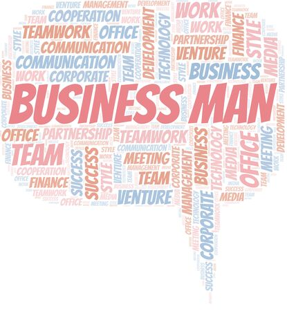 Business Man word cloud. Collage made with text only.