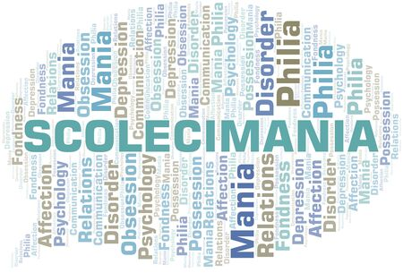 Scolecimania word cloud. Type of mania, made with text only. Vettoriali