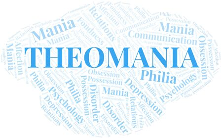 Theomania word cloud. Type of mania, made with text only. Illusztráció