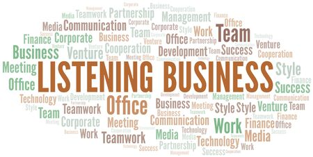 Listening Business word cloud. Collage made with text only.