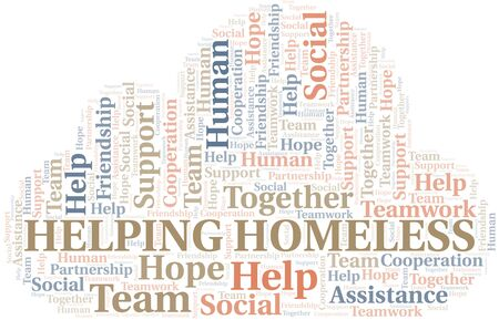 Helping Homeless word cloud. Vector made with text only. Illustration
