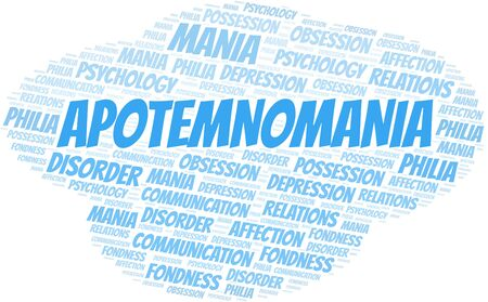 Apotemnomania word cloud. Type of mania, made with text only. Vettoriali