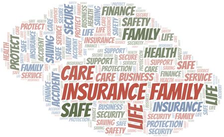 Insurance Family word cloud vector made with text only