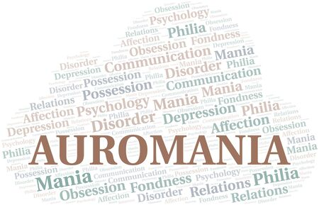 Auromania word cloud. Type of mania, made with text only. Illusztráció