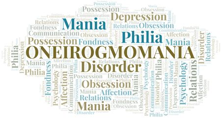 Oneirogmomania word cloud. Type of mania, made with text only.
