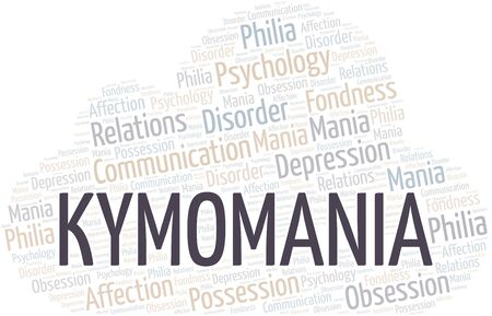 Kymomania word cloud. Type of mania, made with text only.