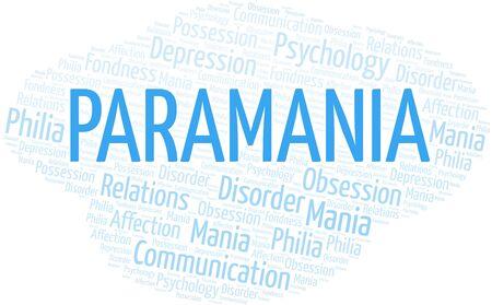 Paramania word cloud. Type of mania, made with text only. Illusztráció