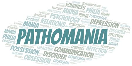 Pathomania word cloud. Type of mania, made with text only.