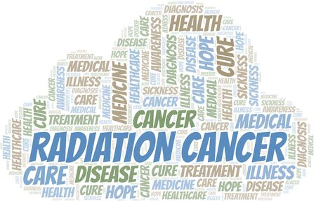 Radiation Cancer word cloud. Vector made with text only.