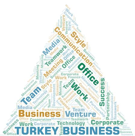 Turkey Business word cloud. Collage made with text only.