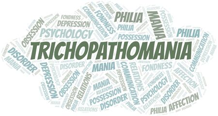 Trichopathomania word cloud. Type of mania, made with text only.
