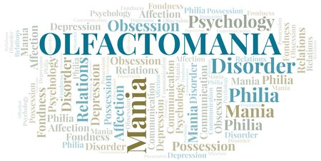 Olfactomania word cloud. Type of mania, made with text only.