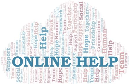 Online Help word cloud. Vector made with text only.