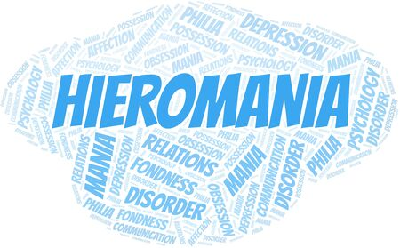 Hieromania word cloud. Type of mania, made with text only. Illusztráció