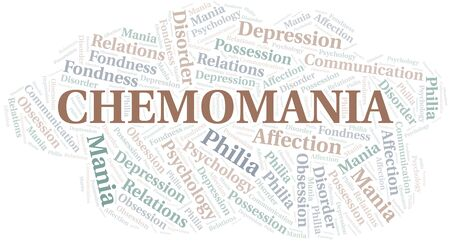 Chemomania word cloud. Type of mania, made with text only. Illusztráció