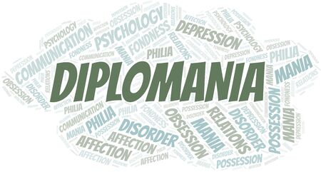 Diplomania word cloud. Type of mania, made with text only.