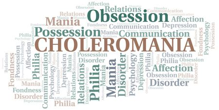 Choleromania word cloud. Type of mania, made with text only.