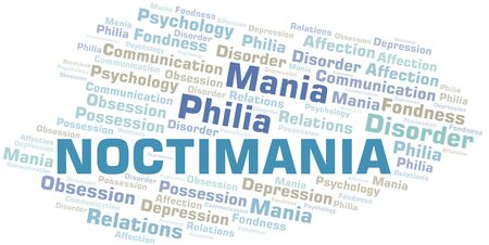 Noctimania word cloud. Type of mania, made with text only.
