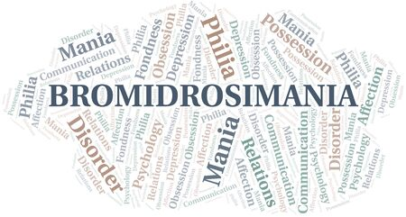 Bromidrosimania word cloud. Type of mania, made with text only.