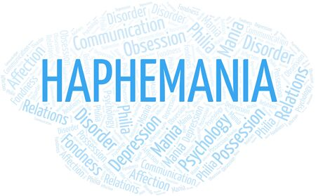 Haphemania word cloud. Type of mania, made with text only. Vettoriali