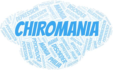 Chiromania word cloud. Type of mania, made with text only.