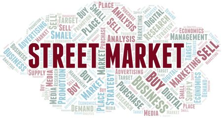 Street Market word cloud. Vector made with text only