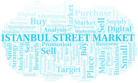 Istanbul Street Market word cloud. Vector made with text only Illustration