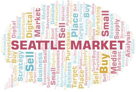 Seattle Market word cloud. Vector made with text only