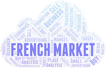 French Market word cloud. Vector made with text only Ilustração