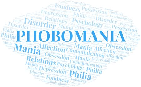 Phobomania word cloud. Type of mania, made with text only.