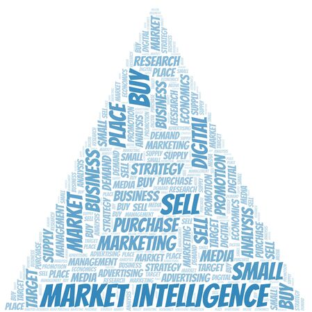 Market Intelligence word cloud. Vector made with text only