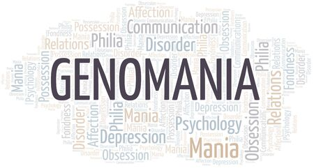 Genomania word cloud. Type of mania, made with text only.